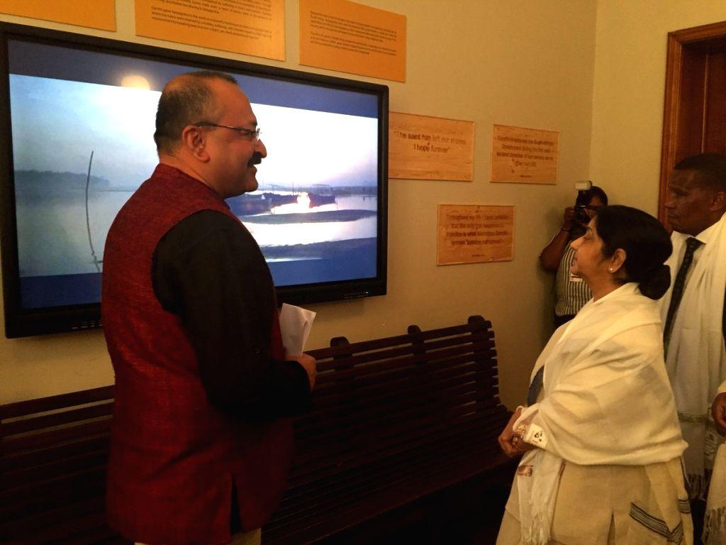 External Affairs Minister Sushma Swaraj inaugurates the Mahatma Gandhi Digital Museum at Pietermaritzburg railway station, South Africa on June 7, 2018. - Sushma Swaraj and Gandhi Digital Museum