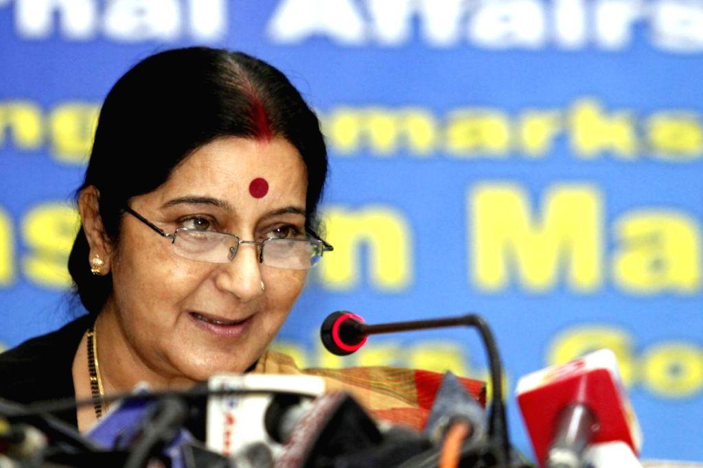 External Affairs Minister Sushma Swaraj addresses during a programme in Dhaka, Bangladesh on June 26, 2014.