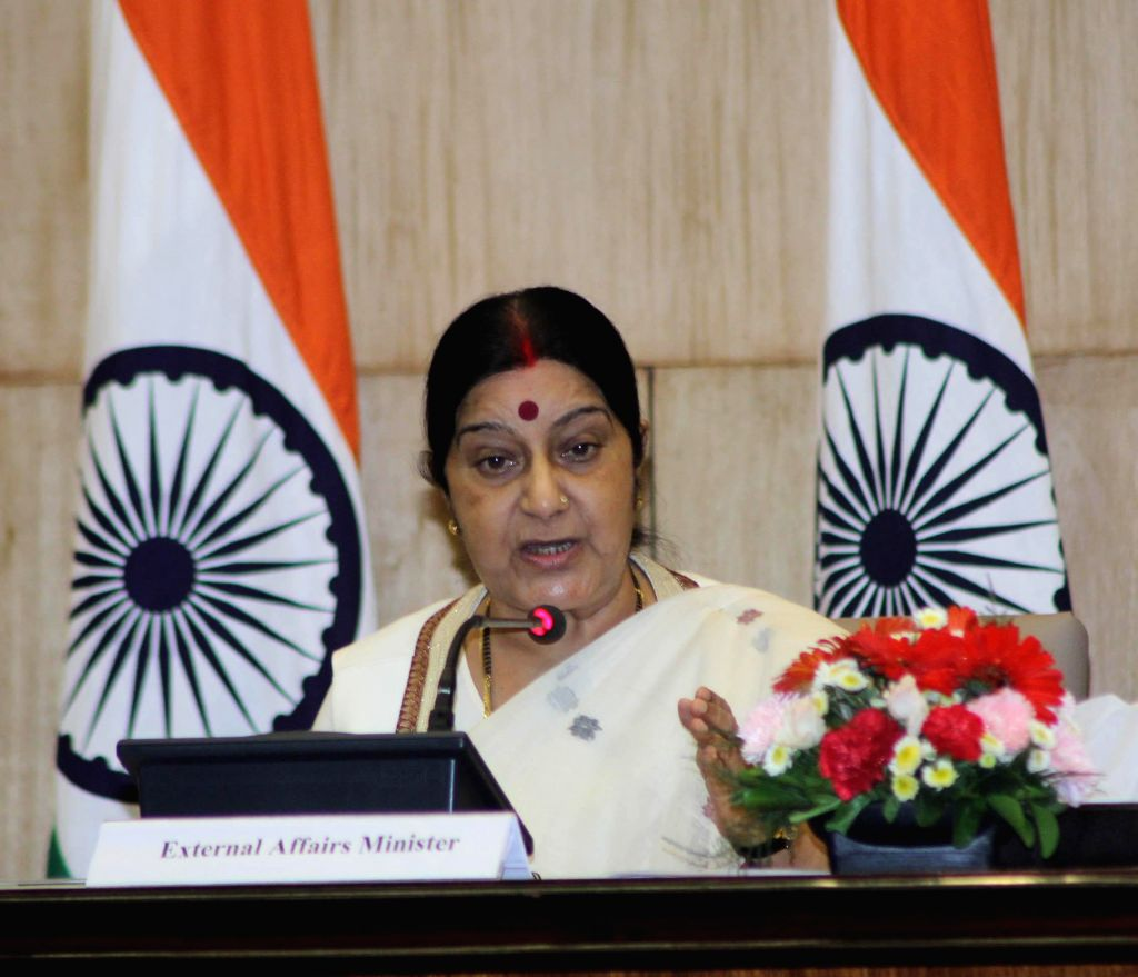 External Affairs Minister Sushma Swaraj addresses at the launch of `Fast Track Diplomacy` - a book in New Delhi on Sept 8, 2014. - Sushma Swaraj