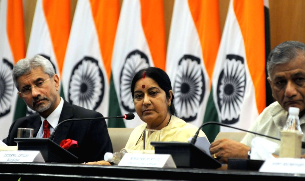 External Affairs Minister Sushma Swaraj addresses a press conference in New Delhi, on June 19, 2016. Also seen Foreign Secretary S Jaishankar. - Sushma Swaraj