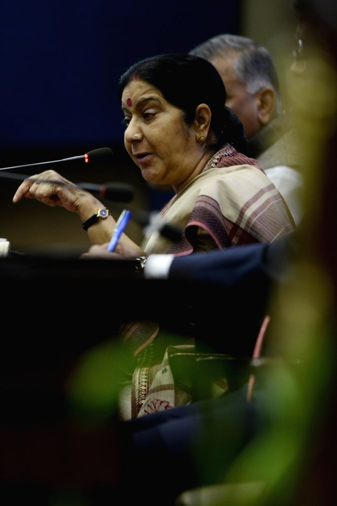 External Affairs Minister Sushma Swaraj addresses during a formal session of passport Seva Devas in New Delhi on June 24, 2016. - Sushma Swaraj