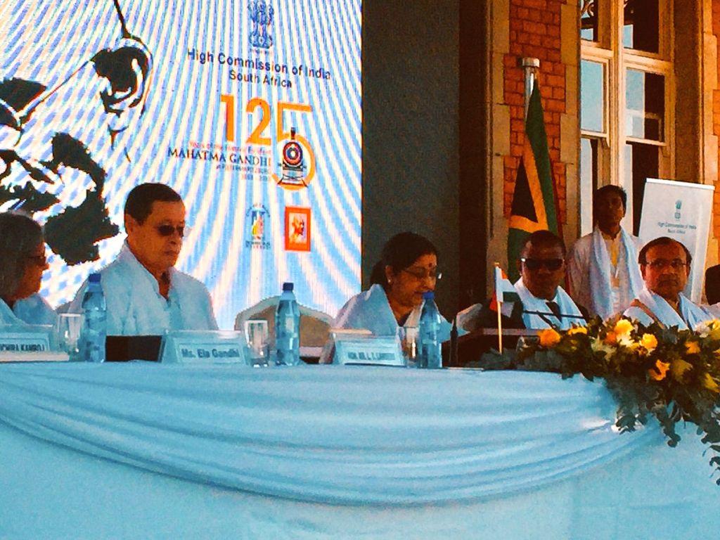External Affairs Minister Sushma Swaraj addresses at the commemoration of the 125th anniversary of Pietermaritzburg incident, in Pietermaritzburg, South Africa on June 7, 2018. - Sushma Swaraj