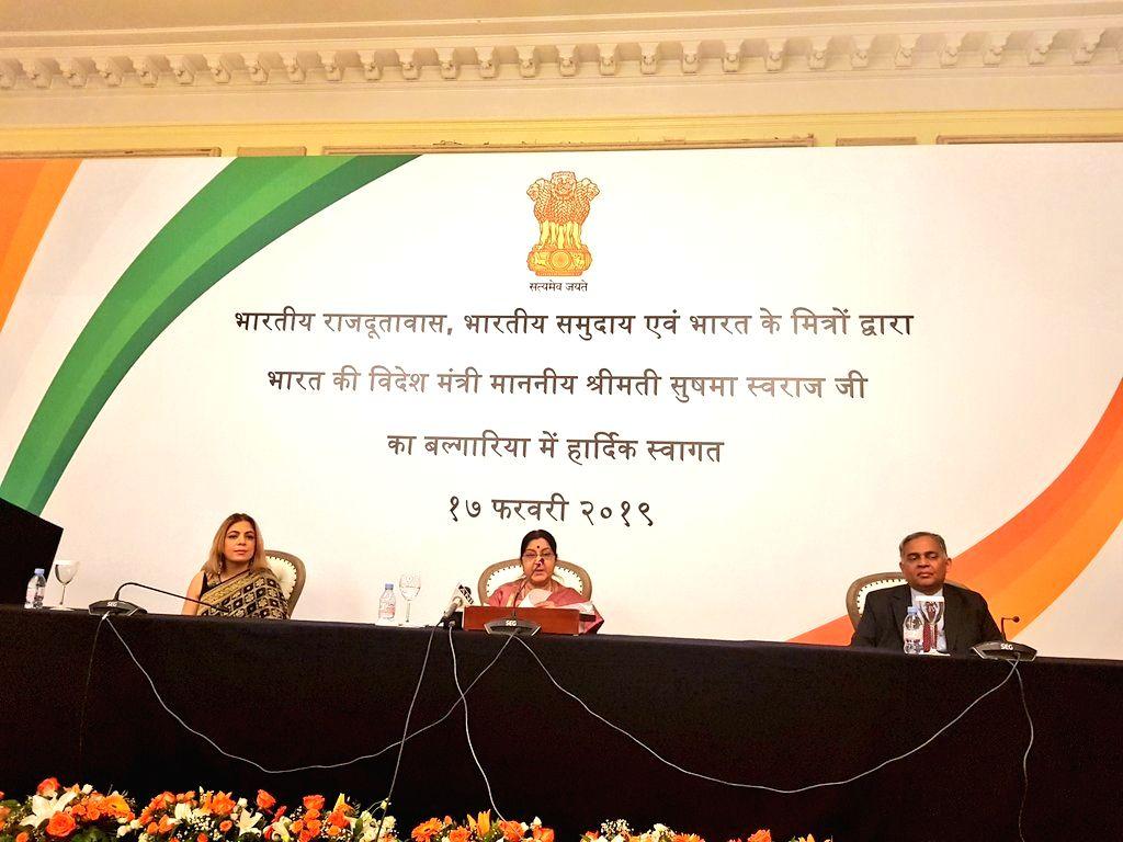 External Affairs Minister Sushma Swaraj addresses the Indian Communities in Bulgaria's Sofia, on Feb 17, 2019. - Sushma Swaraj