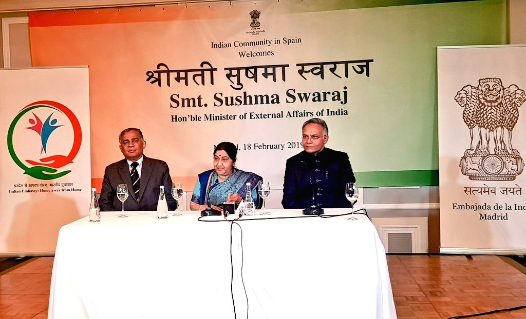 External Affairs Minister Sushma Swaraj addresses the Indian Community in Madrid, Spain, on Feb 18, 2019. - Sushma Swaraj