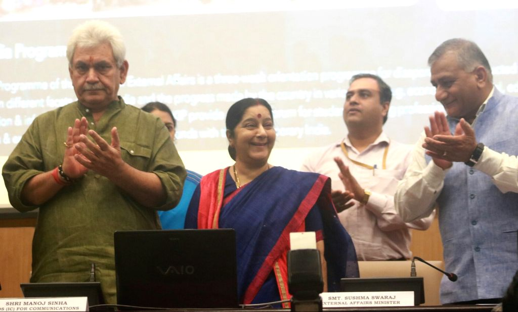 External Affairs Minister Sushma Swaraj along with Minister of State General (Dr) Vijay Kumar Singh (Retd), Minister of State MJ Akbar and Minister of State (Independent Charge) of the ... - Sushma Swaraj, Vijay Kumar Singh and Manoj Sinha