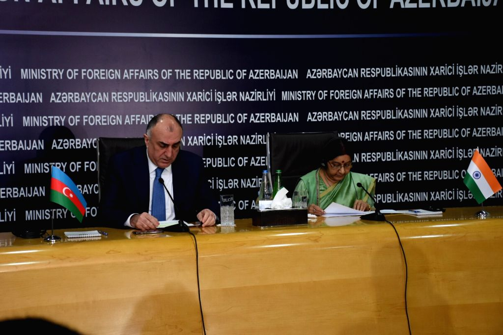 External Affairs Minister Sushma Swaraj along with Azerbaijan's Foreign Affairs Minister Elmar Mammadyarov, delivers Press Statement in Baku on April 4, 2018. - Sushma Swaraj