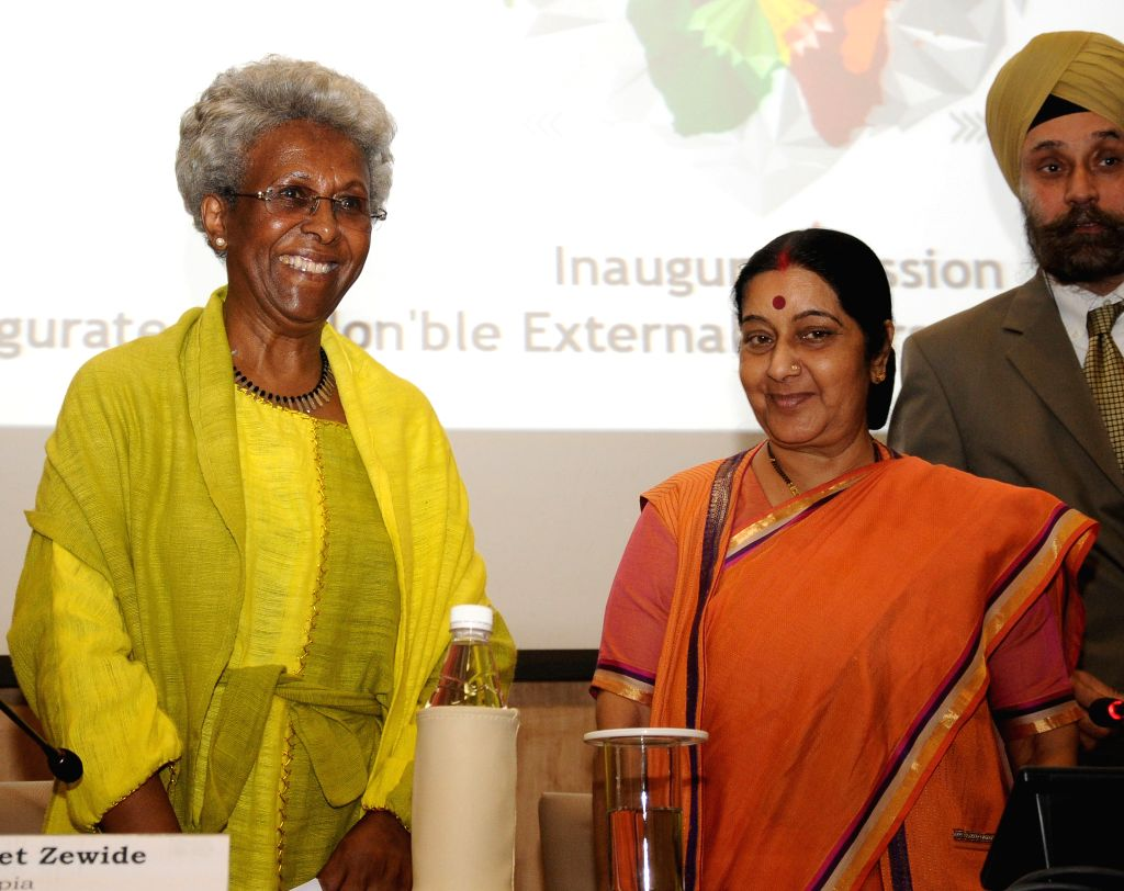 External Affairs Minister Sushma Swaraj and  Ethiopian Ambassador Genet Zewdie (L) at the inauguration of the 3rd India Africa Editor's Forum in New Delhi on Oct 25, 2015. - Sushma Swaraj