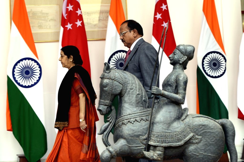 External Affairs Minister Sushma Swaraj and  National Security Advisor (NSA) Ajit Doval at Hyderabad House in New Delhi on Oct 4, 2016. - Sushma Swaraj