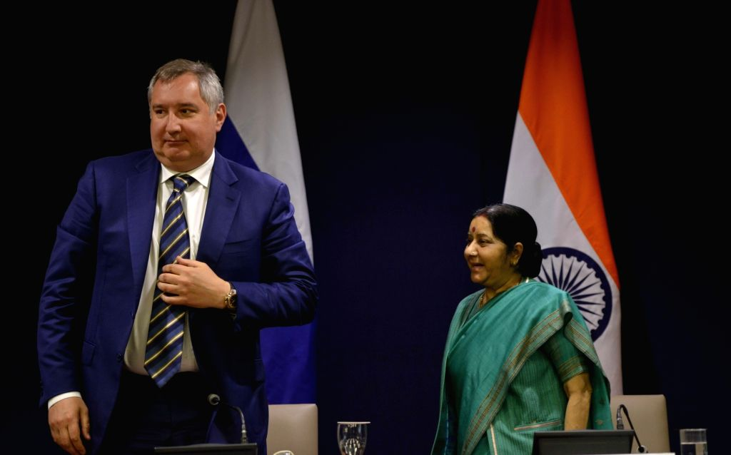 External Affairs Minister Sushma Swaraj and Deputy Prime Minister of the Russian Federation Dmitry Rogozin during the media briefing  after a meeting in New Delhi on May 10, 2017. - Sushma Swaraj