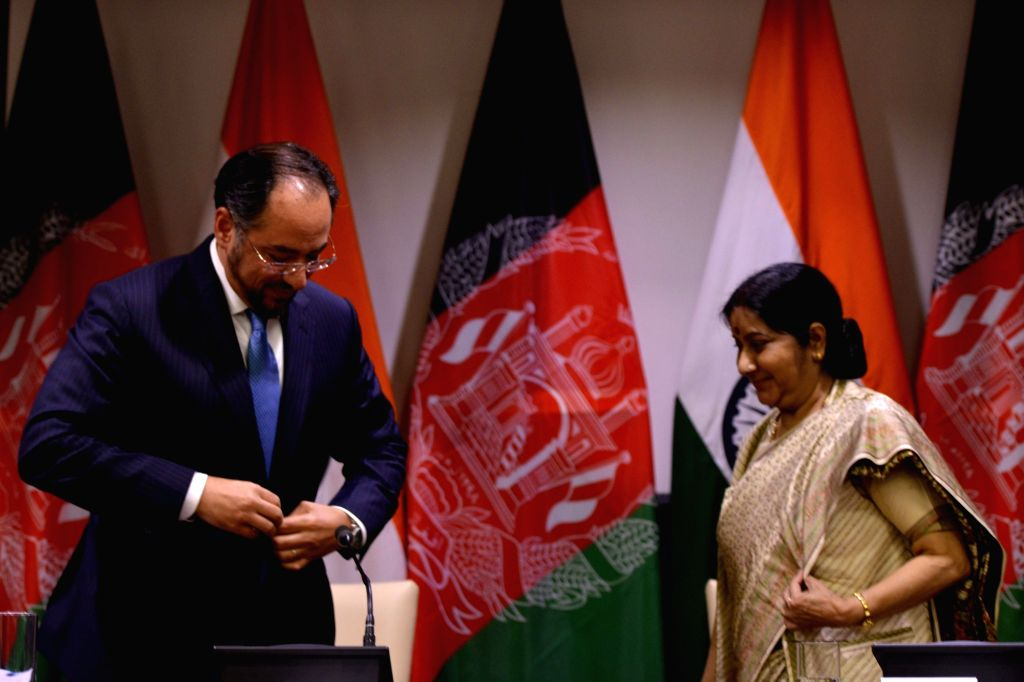 External Affairs Minister Sushma Swaraj and Afghanistan Foreign Minister Salahuddin Rabbani during a joint press conference in New Delhi on Sept 11, 2017. - Sushma Swaraj