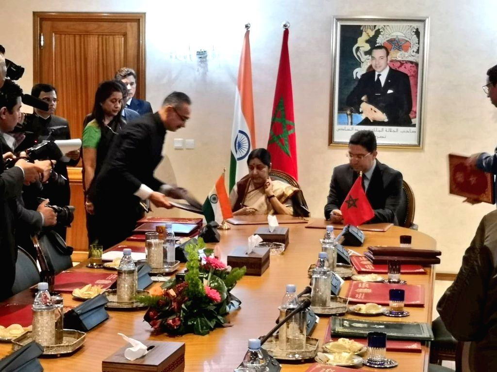 External Affairs Minister Sushma Swaraj and Moroccon Foreign Minister Nasser Bourita sign and exchanged four documents in the fields of counter-terrorism, easing of restrictions on business ... - Sushma Swaraj