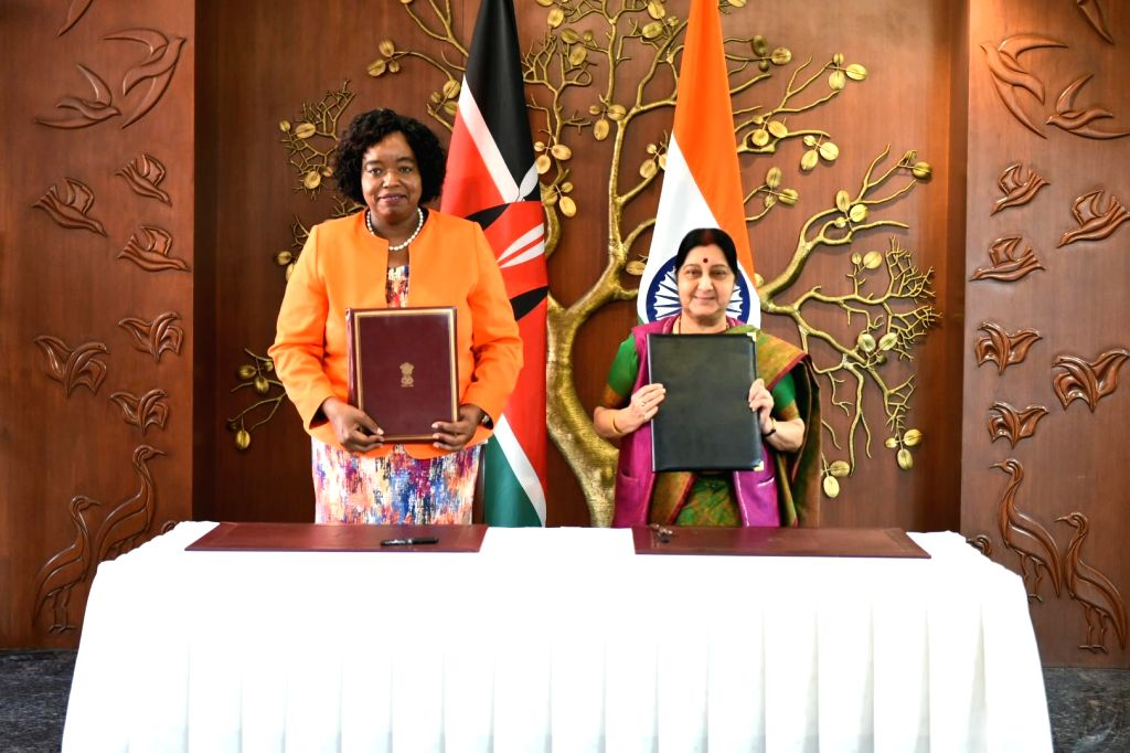 External Affairs Minister Sushma Swaraj and Foreign Minister of Kenya, Monica Juma during Joint Commission Meeting in New Delhi, on March 6, 2019. - Sushma Swaraj