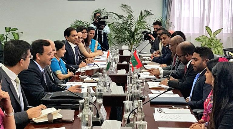 External Affairs Minister Sushma Swaraj and Maldives Foreign Minister Abdulla Shahid during the bilateral talks and Joint Ministerial meeting in Maldives on March 17, 2019. - Sushma Swaraj