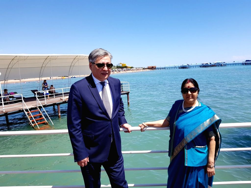 External Affairs Minister Sushma Swaraj and her Kyrgyzstan counterpart Erlan Abdyldaev visit Lake Issyk Kul - the 2nd largest mountain lake in the world surrounded by snow-capped peaks of ... - Sushma Swaraj