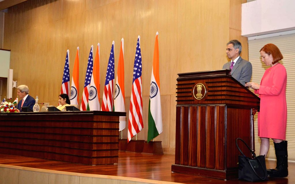External Affairs Minister Sushma Swaraj and U.S. Secretary of State John Kerry during a joint press conference in New Delhi on July 31, 2014.