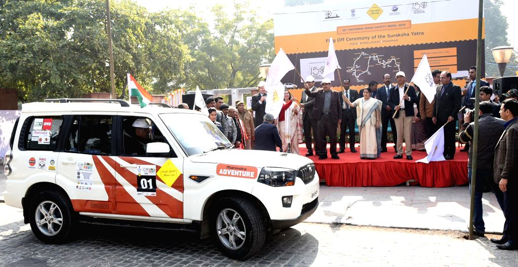 External Affairs Minister Sushma Swaraj and Union Transport Minister Nitin Gadkari flag off the Motor Rally at the inauguration of the 30th National Road Safety Week-2019, to commemorate ... - Sushma Swaraj