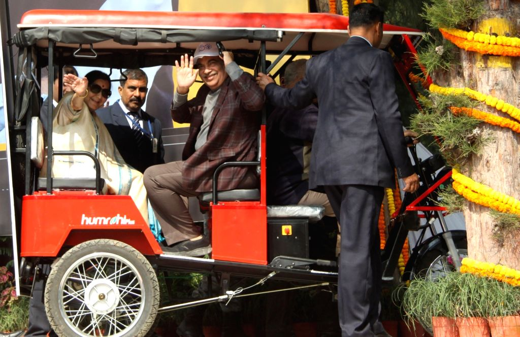 External Affairs Minister Sushma Swaraj and Union Transport Minister Nitin Gadkari in an e-rickshaw ride at the inauguration of the 30th National Road Safety Week-2019, to commemorate the ... - Sushma Swaraj