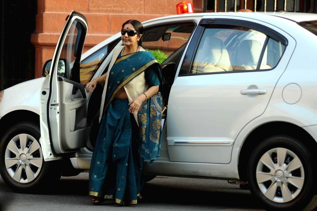 External Affairs Minister Sushma Swaraj arrives at the Parliament in New Delhi on Aug 13, 2014. - Sushma Swaraj