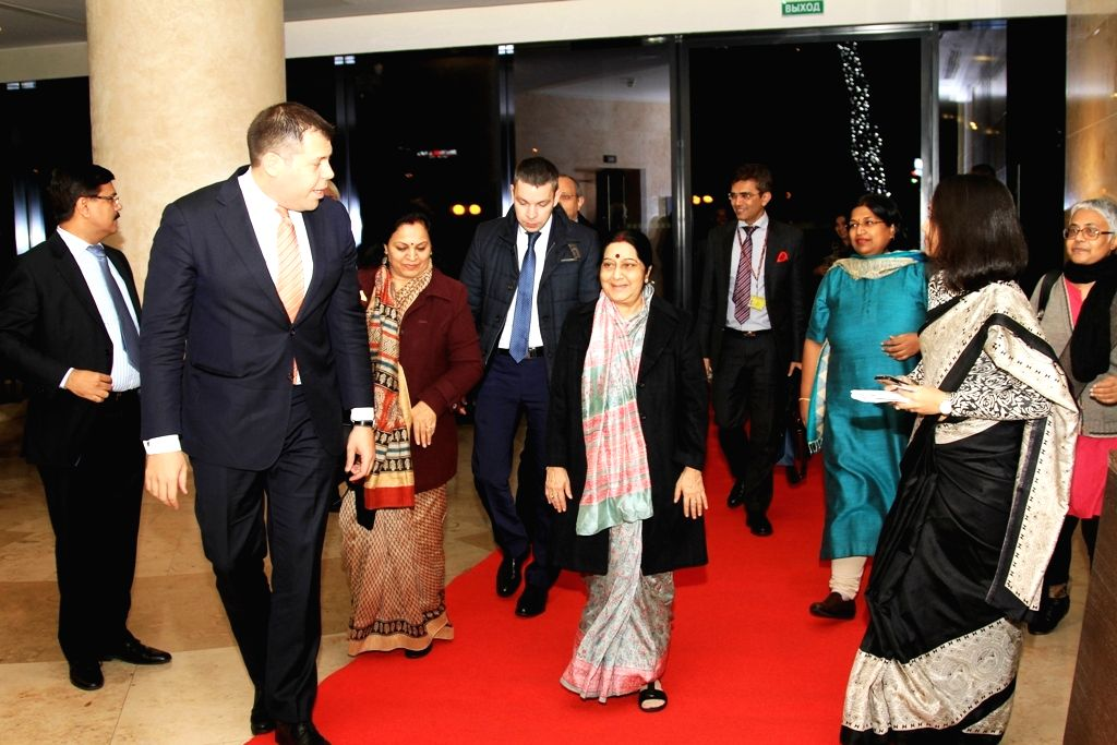 External Affairs Minister Sushma Swaraj arrives in Sochi, Russia to attend the16th Meeting of the Council of the Heads of Government (CHG) of the Shanghai Cooperation Organization (SCO) on Nov ... - Sushma Swaraj