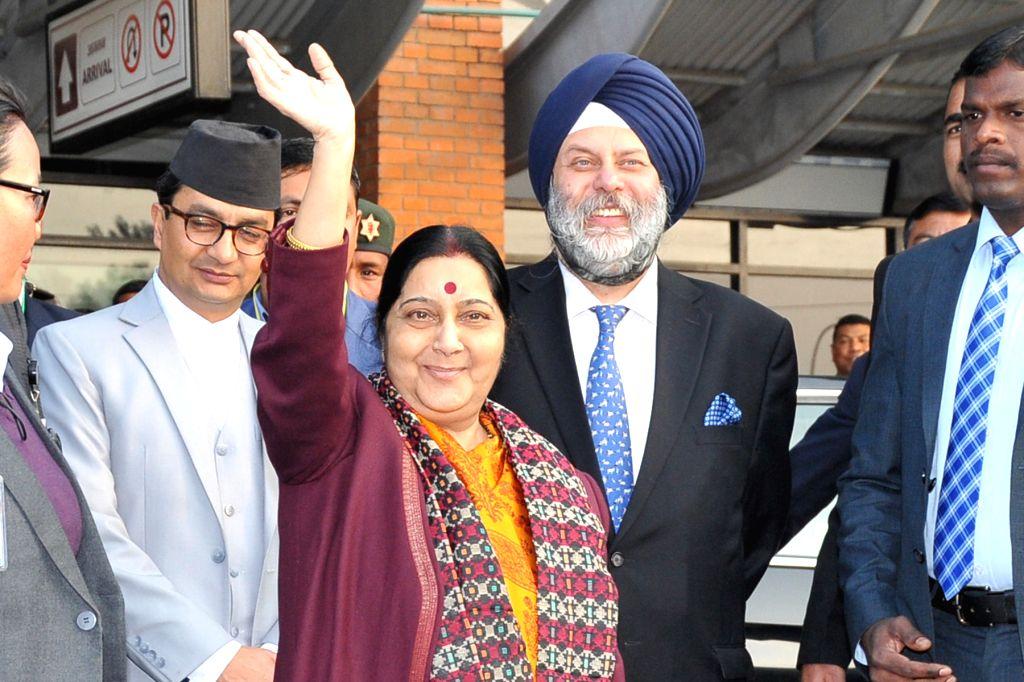 External Affairs Minister Sushma Swaraj arrives in Kathmandu on her two-day visit to Nepal, on Feb 1, 2018. - Sushma Swaraj
