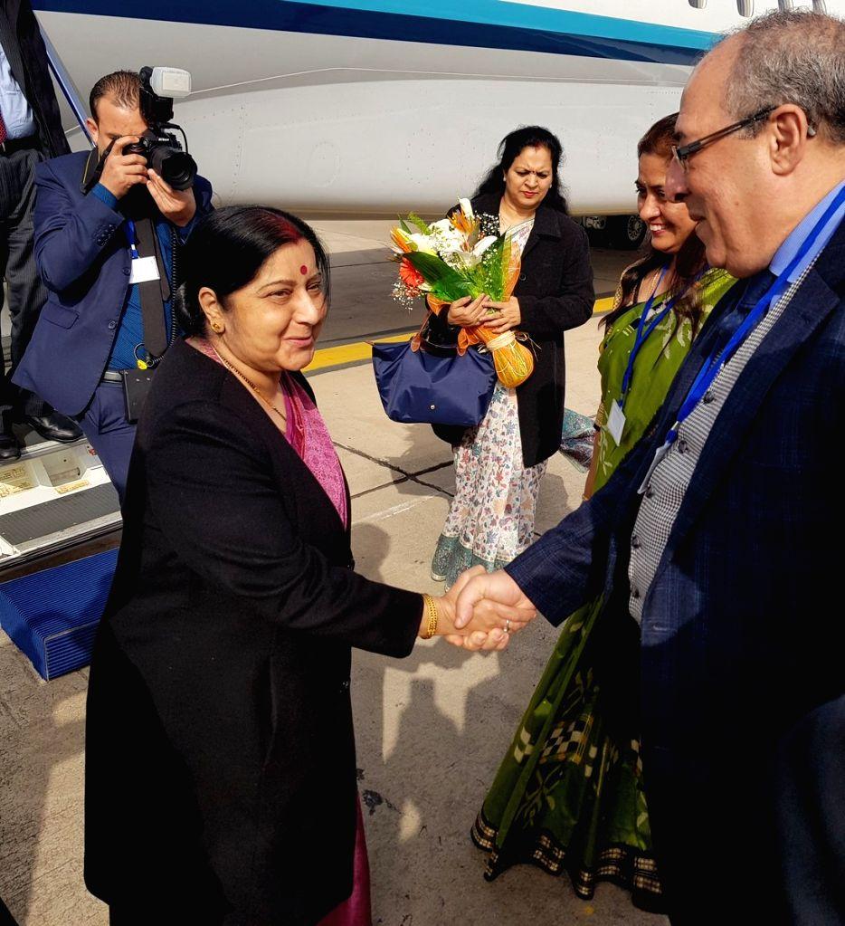 External Affairs Minister Sushma Swaraj arrives in Rabat, Morocco on Feb 17, 2019. - Sushma Swaraj