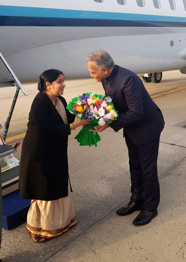 External Affairs Minister Sushma Swaraj arrives in Madrid, Spain on Feb 18, 2019. - Sushma Swaraj