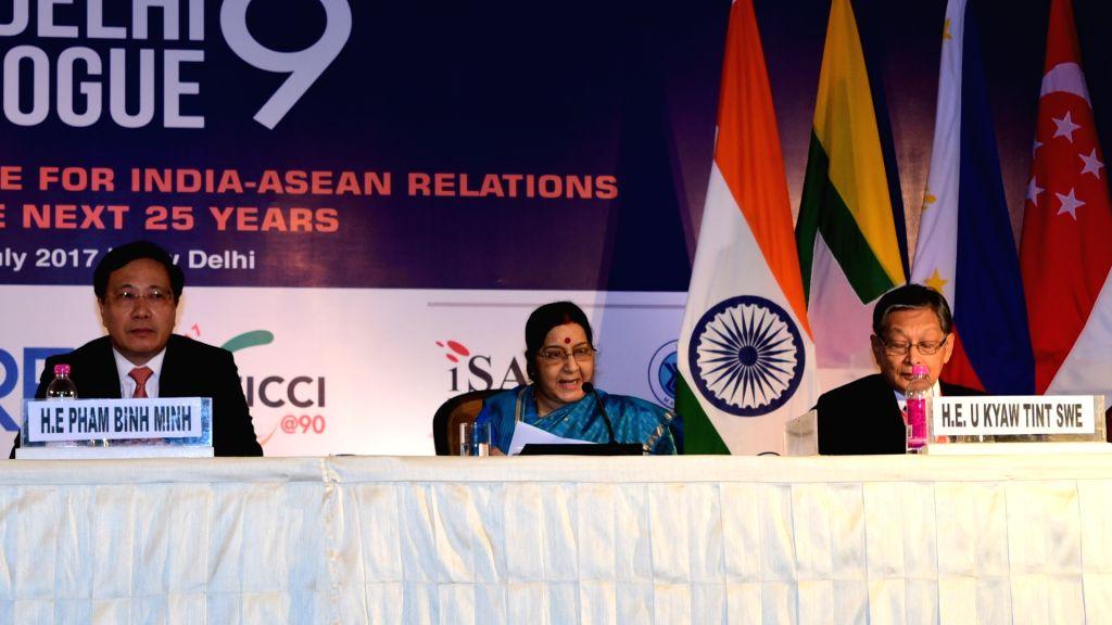 External Affairs Minister Sushma Swaraj at the Inaugural Ministerial Session, Delhi Dialogue IX in New Delhi on July 4, 2017. - Sushma Swaraj