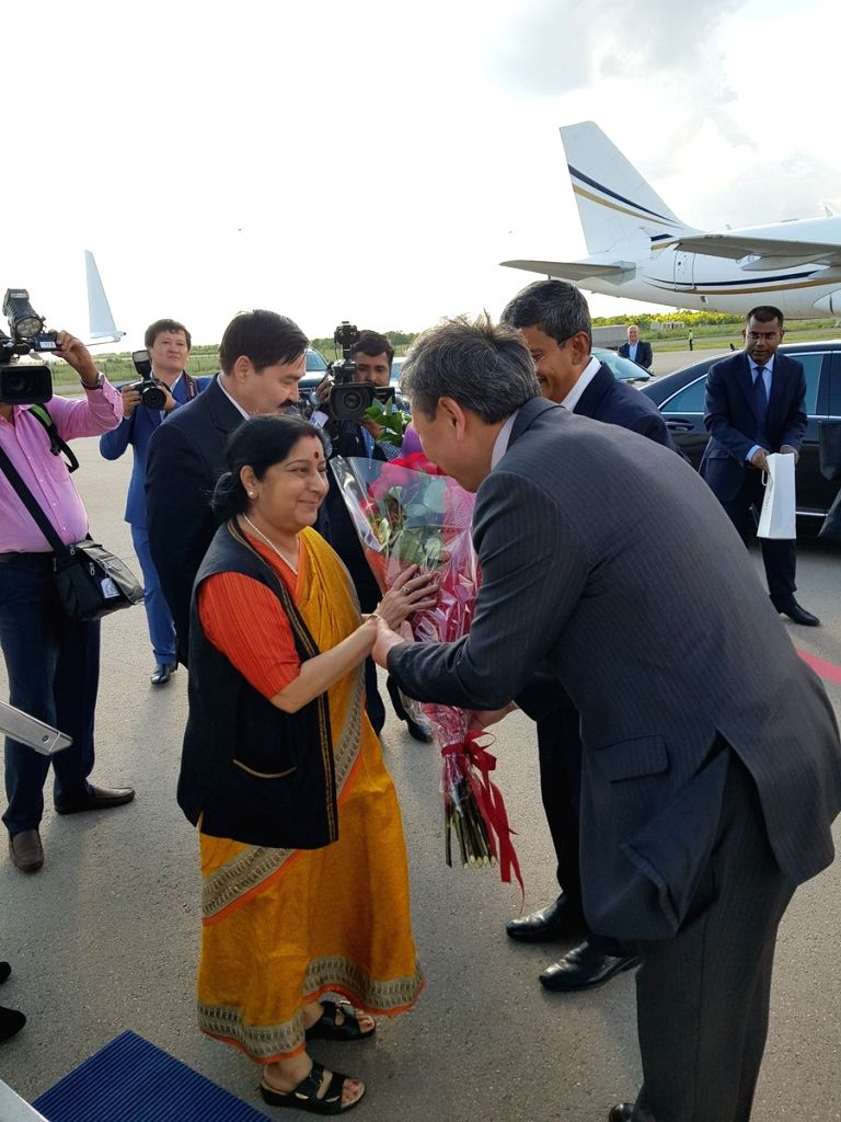 External Affairs Minister Sushma Swaraj being received on her arrival in Astana, Kazakhstan on Aug 2, 2018. - Sushma Swaraj