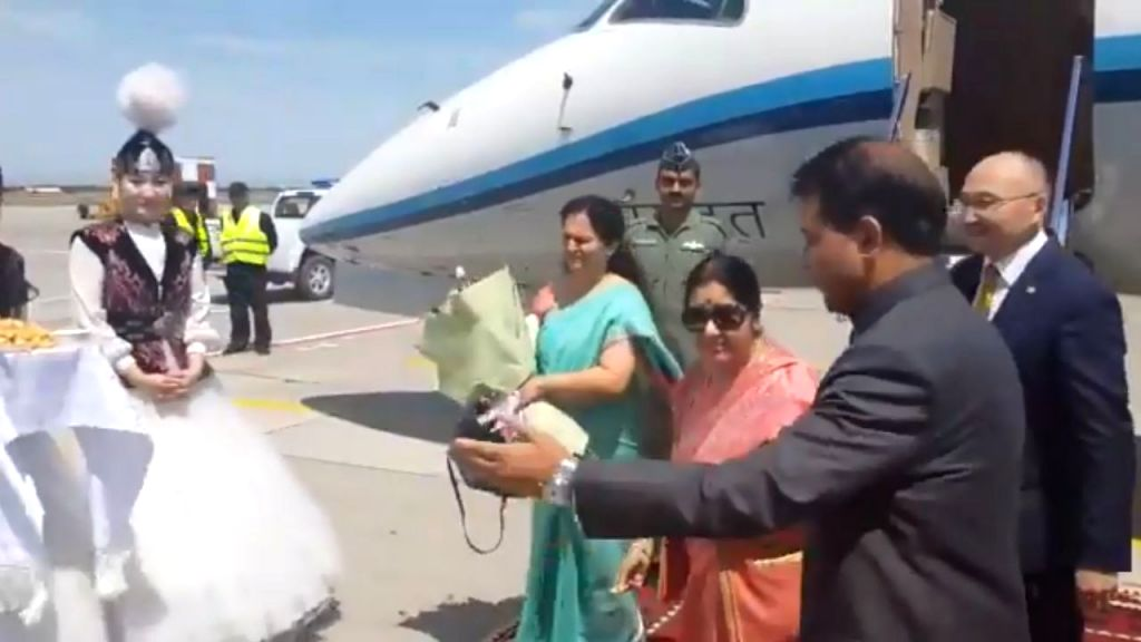 External Affairs Minister Sushma Swaraj being received on her arrival to attend the SCO Foreign Ministers Meeting in Bishkek, Kyrgyzstan on May 21, 2019. - Sushma Swaraj and Meeting