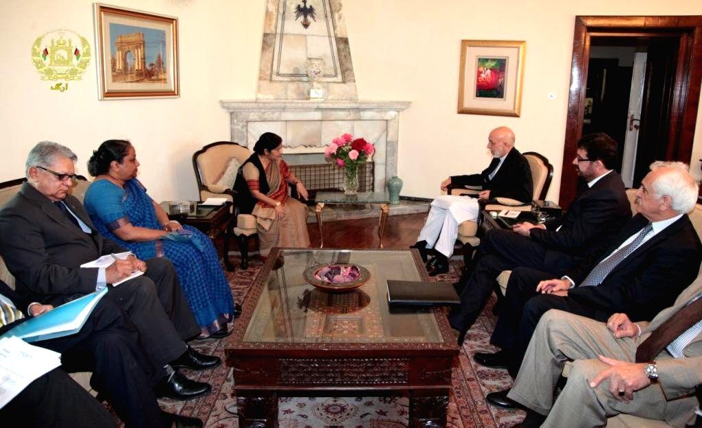 External Affairs Minister Sushma Swaraj calls on Afghanistan President Hamid Karzai in Kabul, Afghanistan on Sept. 10, 2014.
