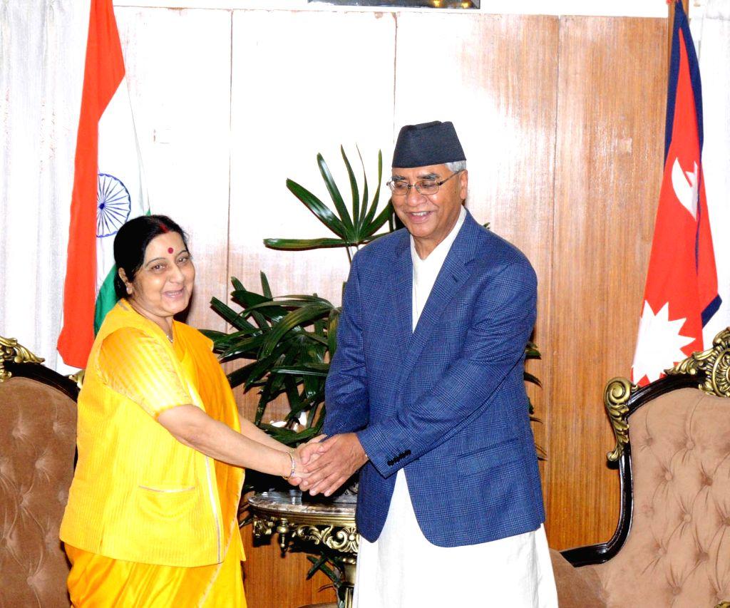 External Affairs Minister Sushma Swaraj calls on Nepal Prime Minister Sher Bahadur Deuba in Kathmandu on Aug 10, 2017. - Sushma Swaraj