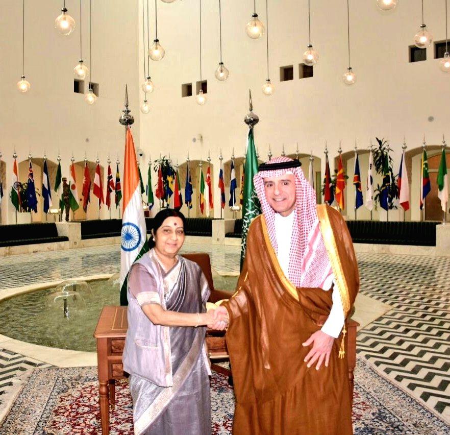 External Affairs Minister Sushma Swaraj calls on Saudi Foreign Minister Adel Jubeir in Riyadh on Feb 7, 2018. - Sushma Swaraj