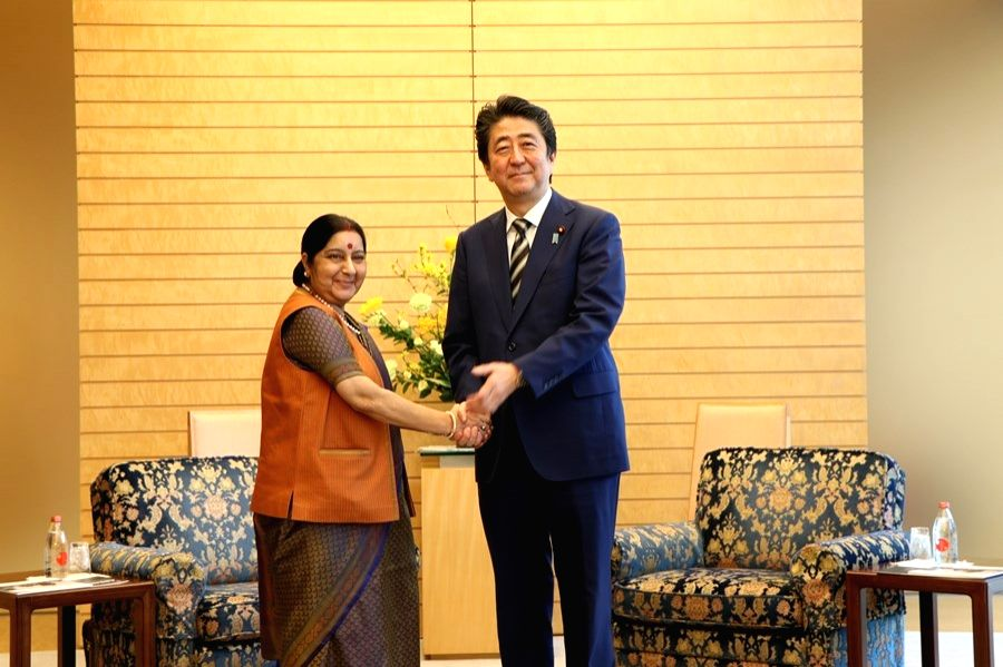External Affairs Minister Sushma Swaraj calls on Japanese Prime Minister Shinzo Abe, in Tokyo on March 29, 2018. - Sushma Swaraj