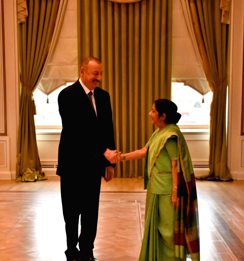 External Affairs Minister Sushma Swaraj calls on President of Azerbaijan, Ilham Aliyev at President's Palace in Baku, Azerbaijan on April 4, 2018. - Sushma Swaraj