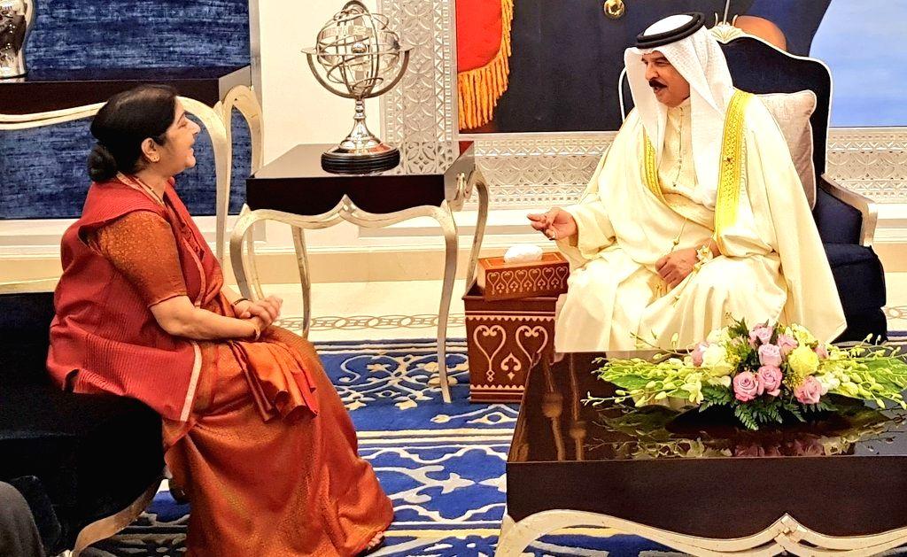 External Affairs Minister Sushma Swaraj calls on Bahrain King Hamad Bin Isa Al Khalifa, in Manama on July 15, 2018. - Sushma Swaraj