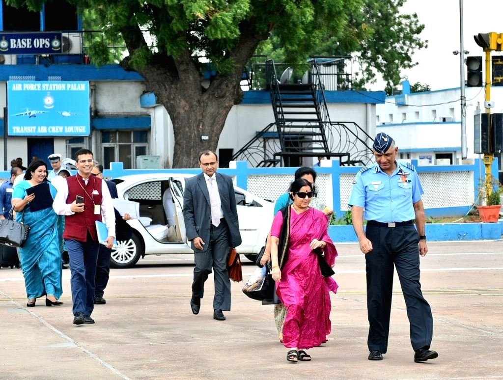 External Affairs Minister Sushma Swaraj departs for Manama, Bahrain for the 2nd India-Bahrain High Joint Commission with Bahrain's Foreign Minister Khalid bin Ahmed Al Khalifa; at Palam ... - Sushma Swaraj