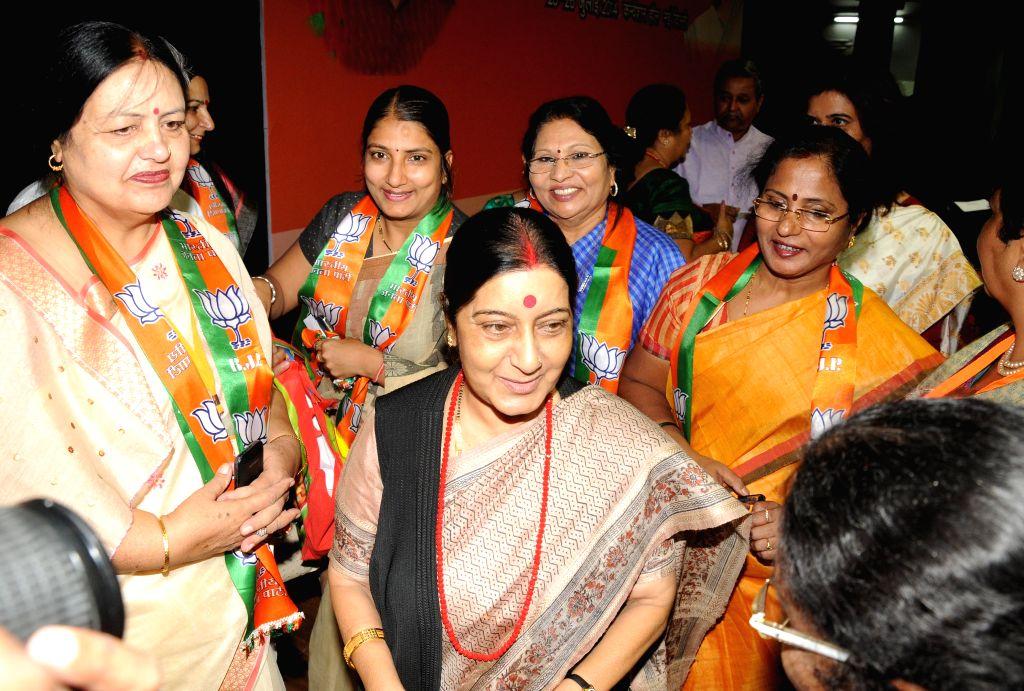 External Affairs Minister Sushma Swaraj during inauguration of BJP Mahila Morcha  National Executive meeting in New Delhi on July 25, 2014. - Sushma Swaraj