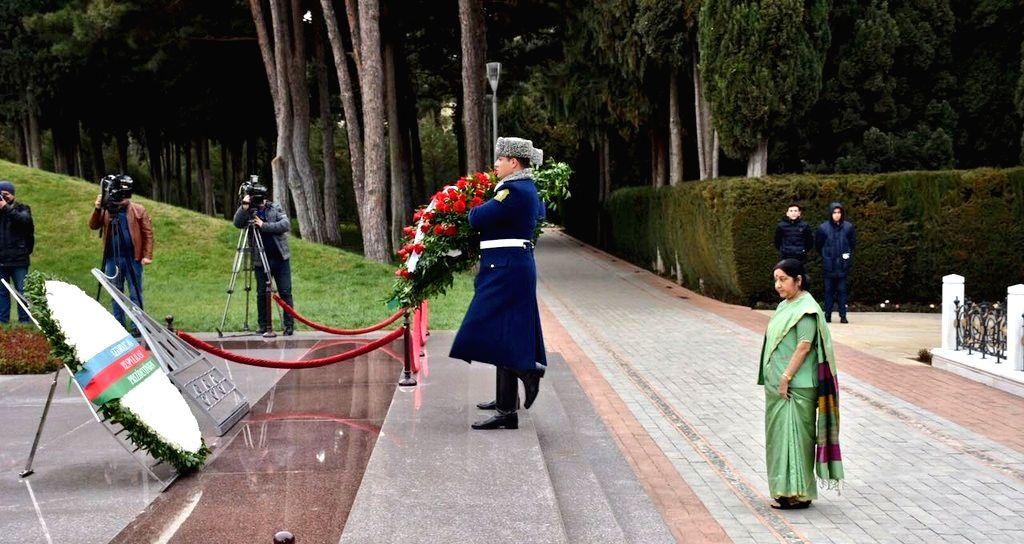 External Affairs Minister Sushma Swaraj during her visit to Alley of Honours to pay homage to former President Heydar Aliyev and his wife Zarifa Aliyeva in Baku, Azerbaijan on April 4, 2018. - Sushma Swaraj