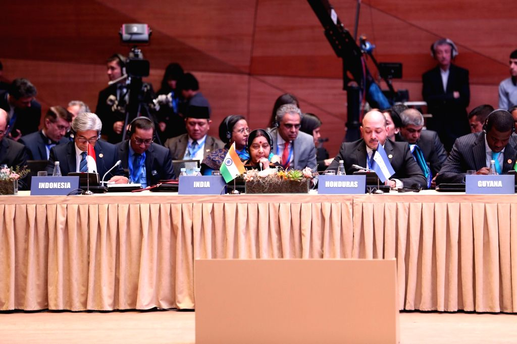 External Affairs Minister Sushma Swaraj during the 18th Mid-Term Ministerial Conference of the Non-Aligned Movement (NAM) in Baku, Azerbaijan on April 5, 2018. - Sushma Swaraj