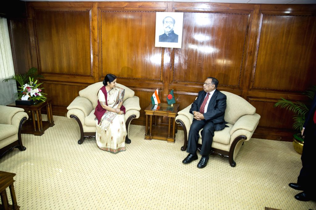 External Affairs Minister Sushma Swaraj during a meeting with her Bangladeshi counterpart Abul Hassan Mahmood Ali in Dhaka, Bangladesh on June 26, 2014.