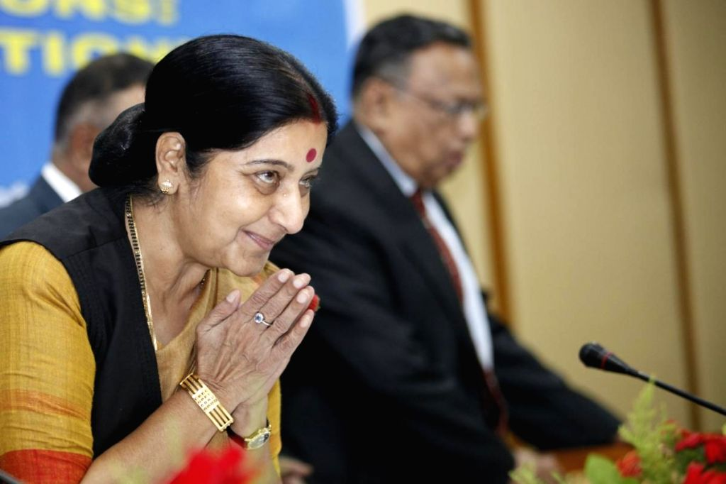 External Affairs Minister Sushma Swaraj during a programme in Dhaka, Bangladesh on June 26, 2014.