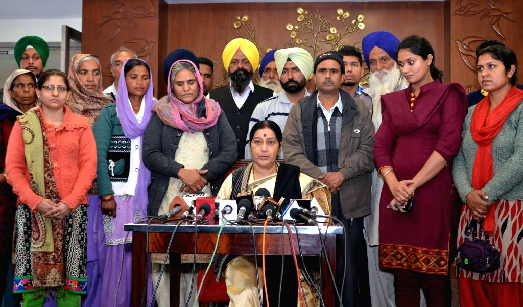 External Affairs Minister Sushma Swaraj during a press conference regarding the Indians held as captive in Iraq, in New Delhi on Dec 5, 2014.