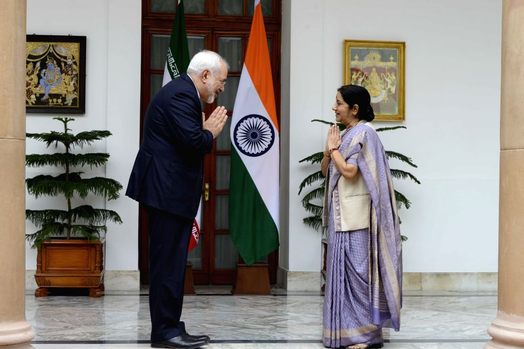 External Affairs Minister Sushma Swaraj during a meeting with the Foreign Minister of the Islamic Republic of Iran, Dr. Mohammad Javad Zarif, in New Delhi on Aug 14, 2015.