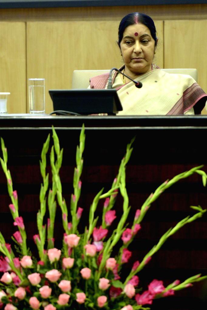 External Affairs Minister Sushma Swaraj during a formal session of passport Seva Devas in New Delhi on June 24, 2016. - Sushma Swaraj