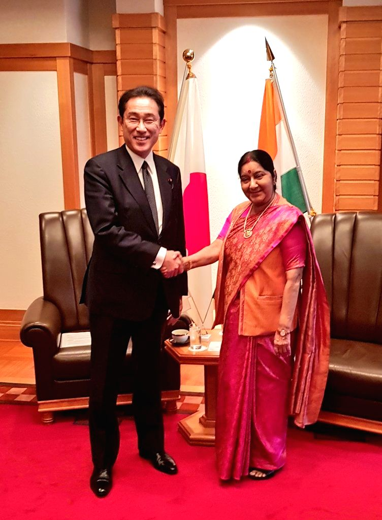 External Affairs Minister Sushma Swaraj during a meeting with Chairman of the ruling Liberal Democratic Party (LDP) Policy Research Council and former Japanese Foreign Minister Fumio Kishida, ... - Sushma Swaraj