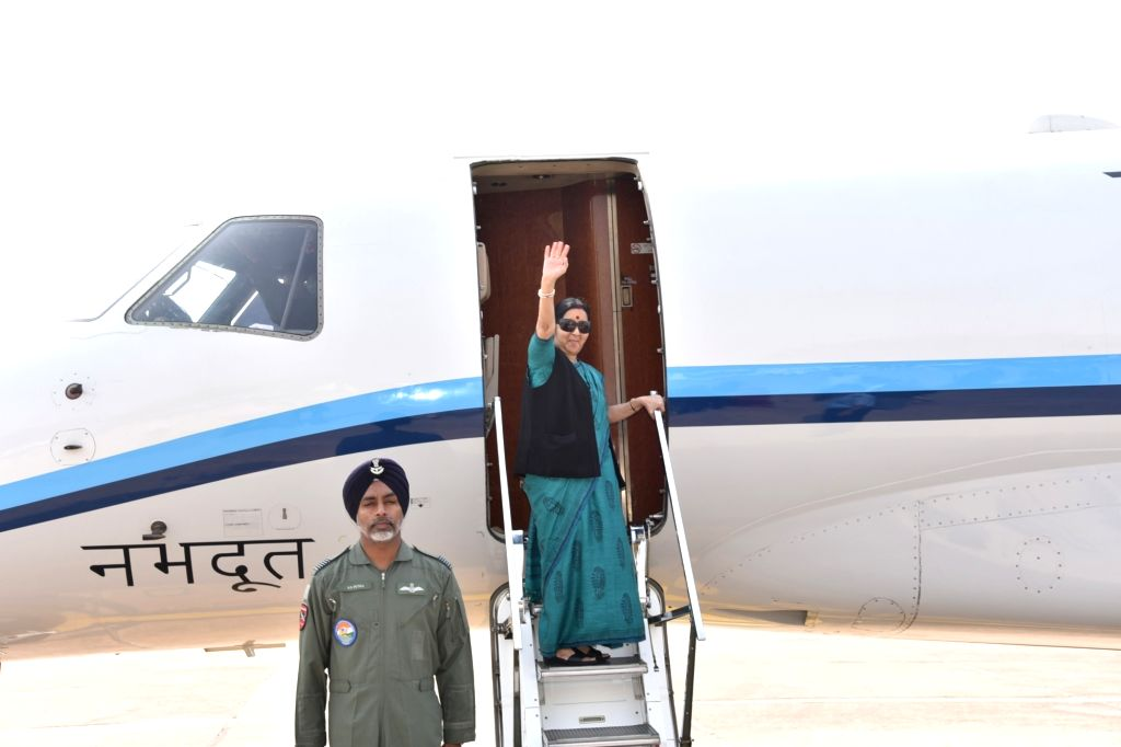 External Affairs Minister Sushma Swaraj emplanes for Baku, Azerbaijan to attend Mid-Term Ministerial Conference of the Non-Aligned Movement (NAM), on April 4, 2018 - Sushma Swaraj