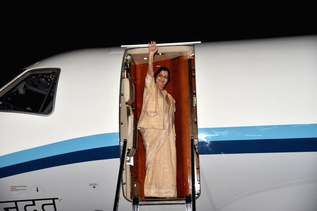 External Affairs Minister Sushma Swaraj emplanes for Abu Dhabi to lead the Indian delegation at the 12th India-UAE Joint Commission Meeting, from New Delhi, on Dec 3, 2018. - Sushma Swaraj