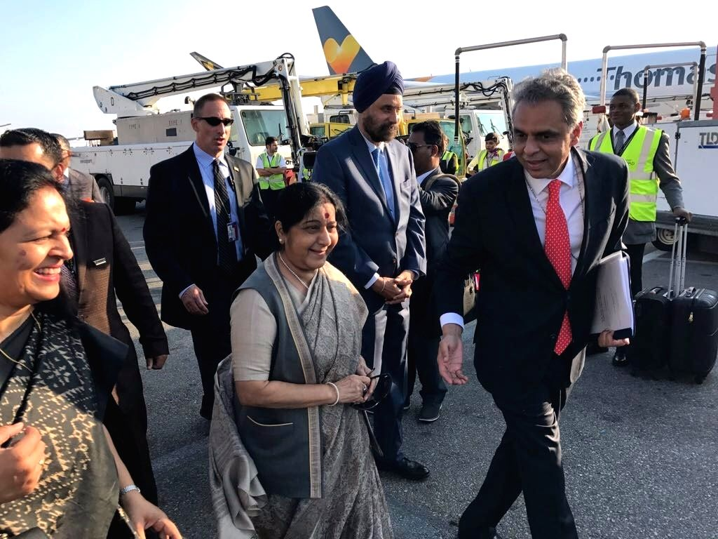 External Affairs Minister Sushma Swaraj is received after her arrival in New York by Syed Akbaruddin, India's United Nations Permanent Representative. India's Ambassador to the United States, Navtej ... - Sushma Swaraj
