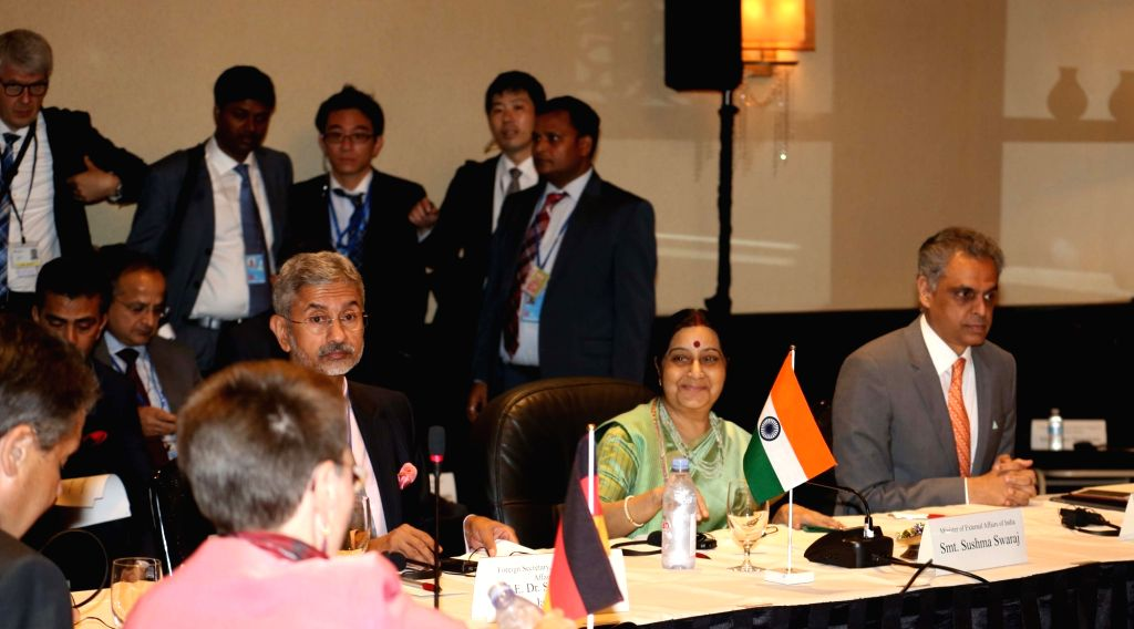 External Affairs Minister Sushma Swaraj meeting foreign ministers of G4 countries - Brazil, Germany and Japan in New York on Sept. 20, 2017. - Sushma Swaraj