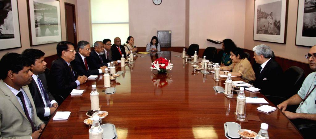 External Affairs Minister Sushma Swaraj meets Jatiya Party goodwill delegation from Bangladesh in New Delhi on Aug 5, 2016. - Sushma Swaraj